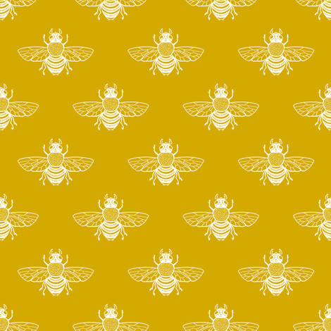 Baby Bee in White on Gold fabric by thistleandfox on Spoonflower - custom fabric