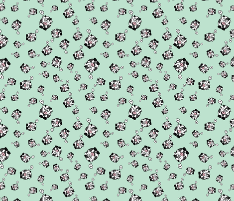And the Cow Says Mu - Green fabric by studiofibonacci on Spoonflower - custom fabric