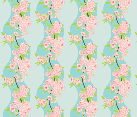 Sakura Chain Blue fabric by aimee on Spoonflower - custom fabric