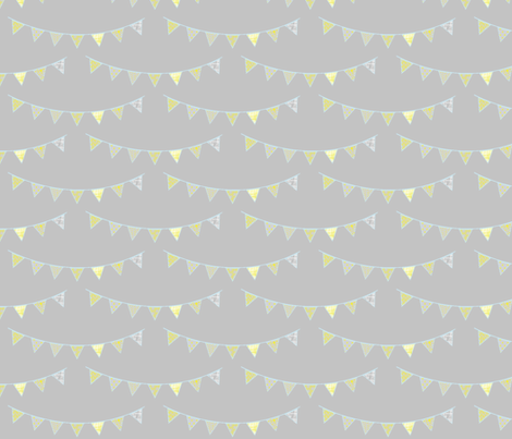 yellow birthday bunting fabric by mezzime on Spoonflower - custom fabric