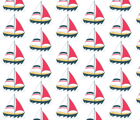 Half Drop Sailboat  fabric by empireruhl on Spoonflower - custom fabric