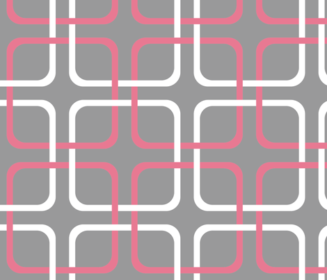 Pink Dawn ~ Squircle Lock ~ Pink, Grey & White fabric by peacoquettedesigns on Spoonflower - custom fabric