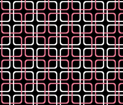 Pink Dawn ~ Squircles ~ Black, Pink & White fabric by peacoquettedesigns on Spoonflower - custom fabric