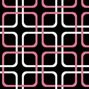 Pink Dawn ~ Squircles ~ Black, Pink & White
