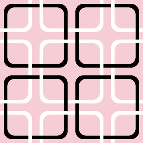 Pink Dawn ~ Squircle Lock ~ Pink, Black & White fabric by peacoquettedesigns on Spoonflower - custom fabric