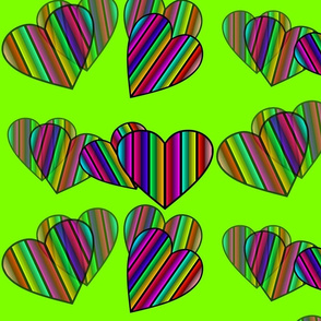 Striped Floating Hearts On Neon Green