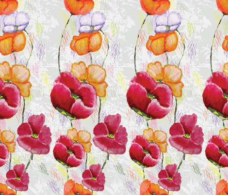 Poppy Ribbons (key design in gray) fabric by moxieart on Spoonflower - custom fabric