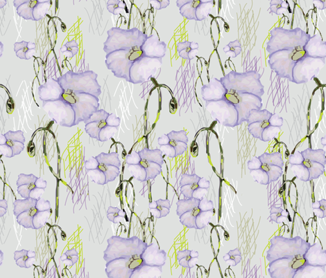 Lavender Buds (from the Poppy Ribbons collection - gray) fabric by moxieart on Spoonflower - custom fabric