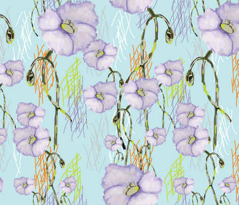 Lavender Buds (from the Poppy Ribbons collection - aqua) fabric by moxieart on Spoonflower - custom fabric
