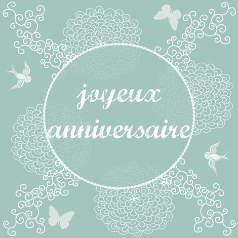 joyeux anniversaire blue fabric by kfrogb on Spoonflower - custom fabric