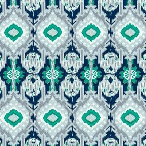 Teal and Navy Ikat