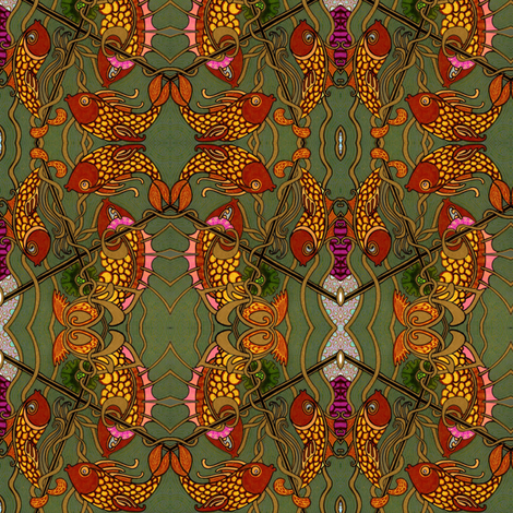 All the Fishes in the Deep Green Sea fabric by edsel2084 on Spoonflower - custom fabric