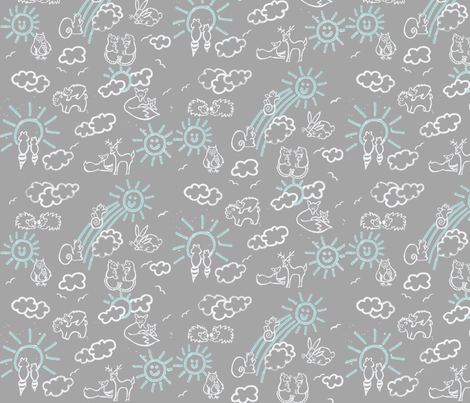 You Are My Sunshine Woodland Animals-in Grey and Aqua fabric by kbexquisites on Spoonflower - custom fabric