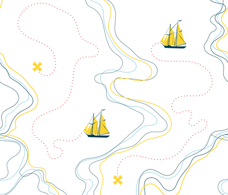 sailing for the treasure - yellow fabric by ravynka on Spoonflower - custom fabric