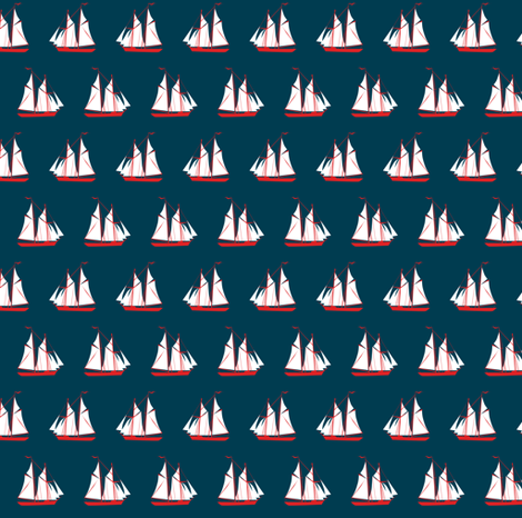sailing ships - navy fabric by ravynka on Spoonflower - custom fabric