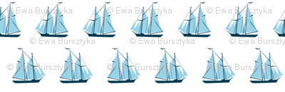 sailing ships - blue on white