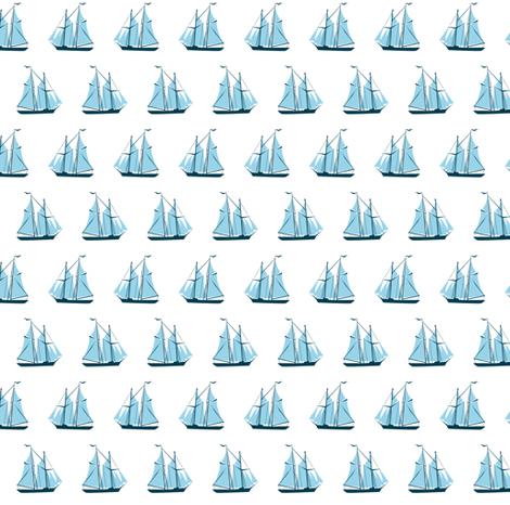 sailing ships - blue on white fabric by ravynka on Spoonflower - custom fabric
