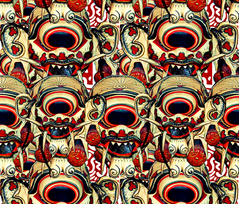 Balinese Mask #3 fabric by whimzwhirled on Spoonflower - custom fabric