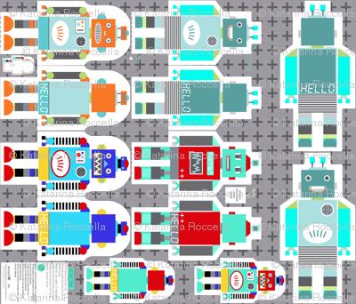 retro robots smaller - cut and sew template
