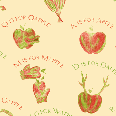 A is for Apple  (a silly apple alphabet) fabric by weavingmajor on Spoonflower - custom fabric