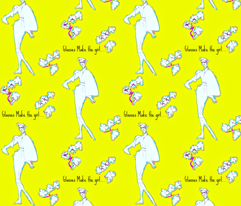 Glasses Make the Girl -text  chartreuse fabric by bettieblue_designs on Spoonflower - custom fabric
