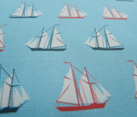 sailing ships - red and blue