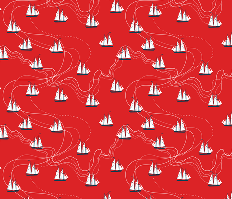 wavy sea - red fabric by ravynka on Spoonflower - custom fabric