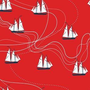 wavy sea - red