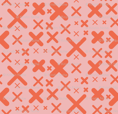x - pink and red