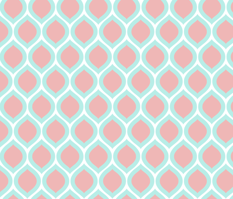 ogee - aqua and pink fabric by kristinnohe on Spoonflower - custom fabric