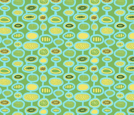 Mid Century Flowers Blue Green fabric by vinpauld on Spoonflower - custom fabric