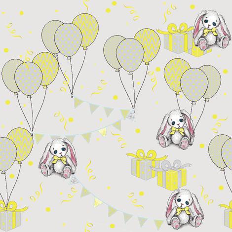 happy birthday bunny fabric by mezzime on Spoonflower - custom fabric