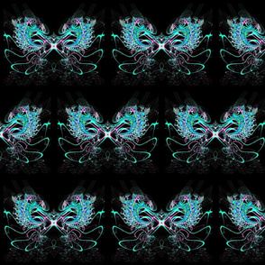 Fractal: Ice Phoenix Rising at Midnight