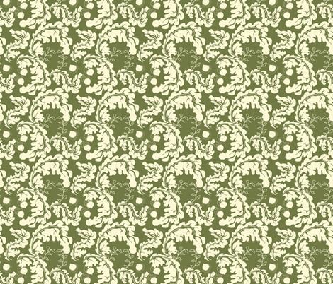 Leaves___Acorns_Green fabric by lana_gordon_rast_ on Spoonflower - custom fabric