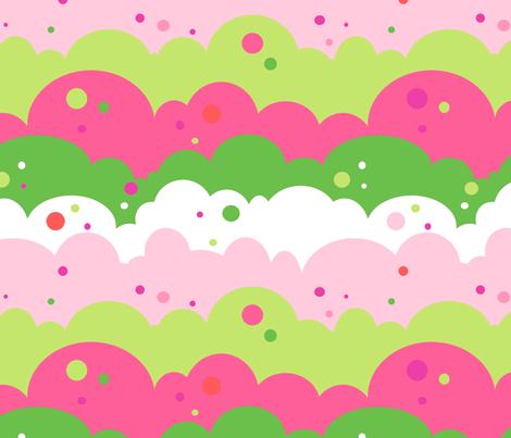 Cloudy Spots Afternoon! - Summertime Fun! - Watermelon - © PinkSodaPop 4ComputerHeaven.com fabric by pinksodapop on Spoonflower - custom fabric
