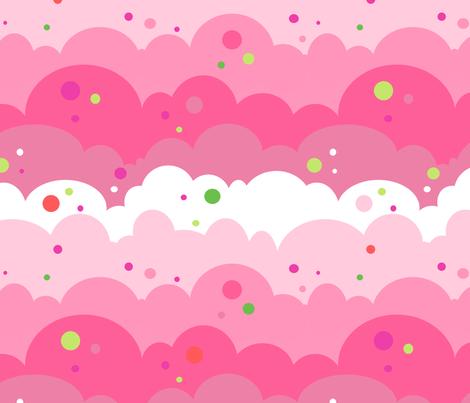 Cloudy Spots Morning! - Summertime Fun! - Watermelon - © PinkSodaPop 4ComputerHeaven.com fabric by pinksodapop on Spoonflower - custom fabric
