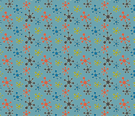 Atomic chevron blue fabric by cjldesigns on Spoonflower - custom fabric