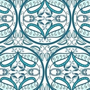 trellis in teal and white