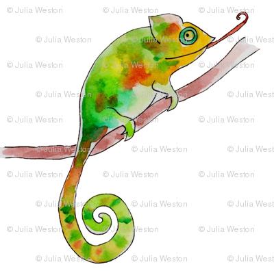 chameleon in white