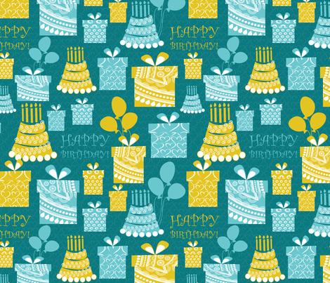 happy birthday 2 fabric by kociara on Spoonflower - custom fabric