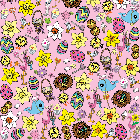 Pink Easter Whaley Megamix fabric by walterandflo on Spoonflower - custom fabric
