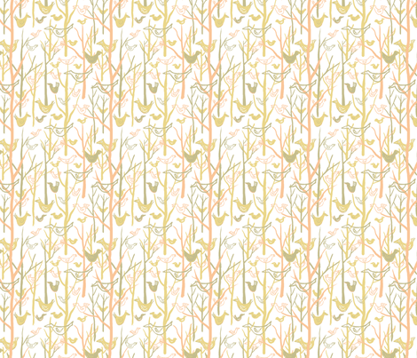 Retro Forest Birds White fabric by vinpauld on Spoonflower - custom fabric