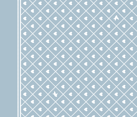 Never Far Away - Border Fabric (color: porcelain blue) fabric by penina on Spoonflower - custom fabric