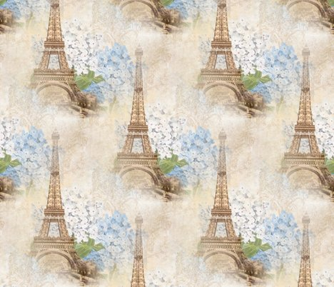 Reiffel_tower_sepia_blue_hydrangea_seamless_shop_preview