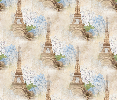 Paris Vintage Blue Hydrangeas fabric by 13moons_design on Spoonflower - custom fabric