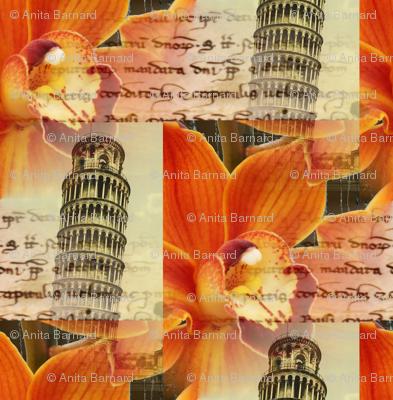 Italian Pisa Orange Orchid Fabric
