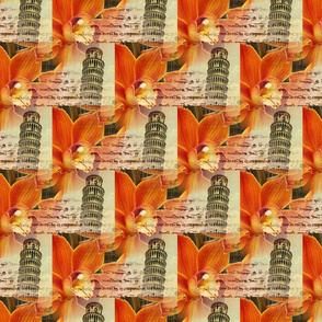 Italian Pisa Orange Orchid Fabric