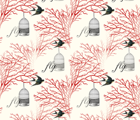 Vintage Birdcage and Swallows Red Branches Design fabric by 13moons_design on Spoonflower - custom fabric