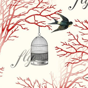 Vintage Birdcage and Swallows Red Branches Design