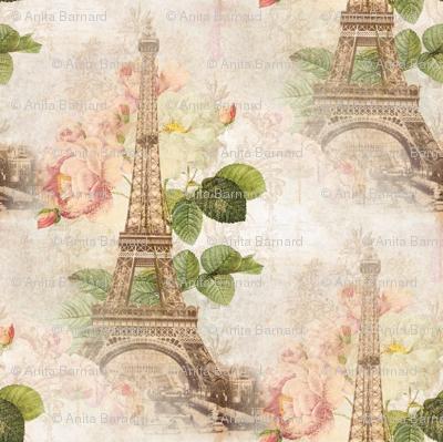 Paris Vintage Pink Roses Fabric 13moons Design Spoonflower